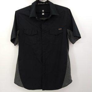 Merrell Mens Large Camp Shirt Black Gray Short Slv